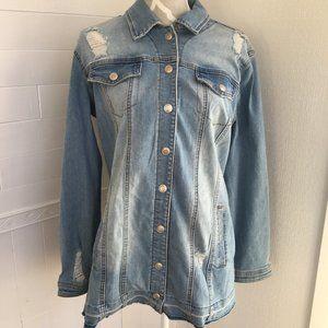 NWT Tribal Jeans Brand Distressed Jean Jacket 2119